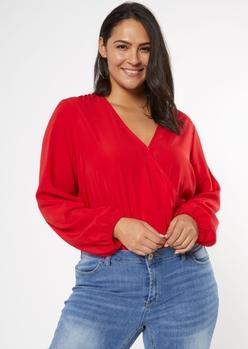 plus red surplice long sleeve bodysuit - Main Image