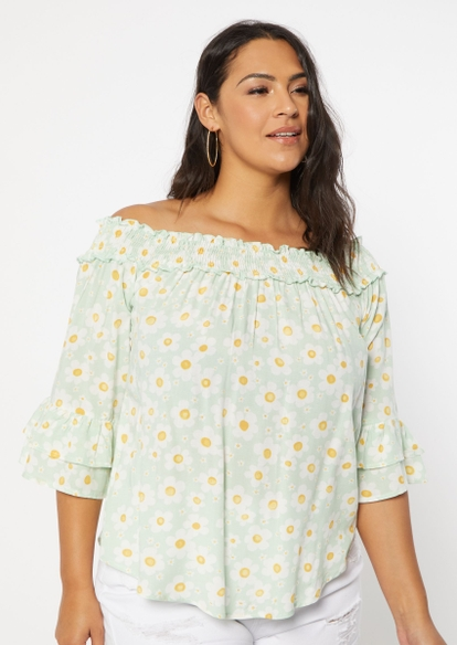 plus mint daisy print tiered off the shoulder top - Main Image