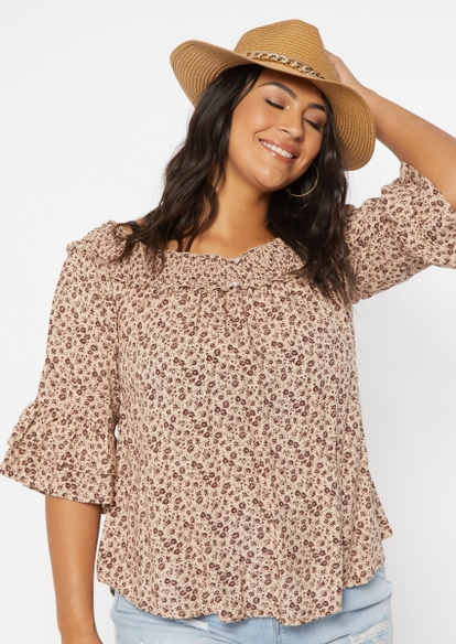plus brown floral print tiered off the shoulder top - Main Image