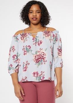 plus blue floral print cold shoulder blouse - Main Image