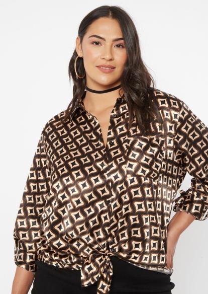 plus brown geometric print front tie satin top - Main Image