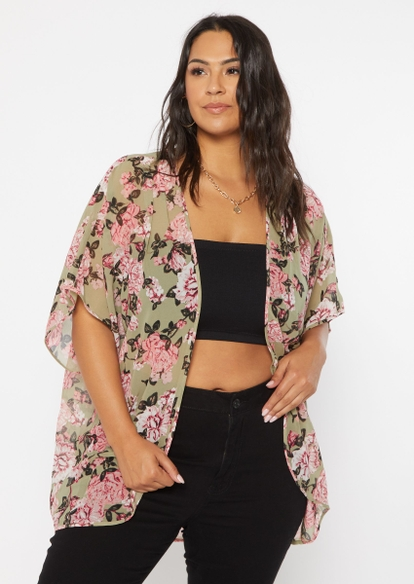 plus olive floral print short sleeve kimono - Main Image