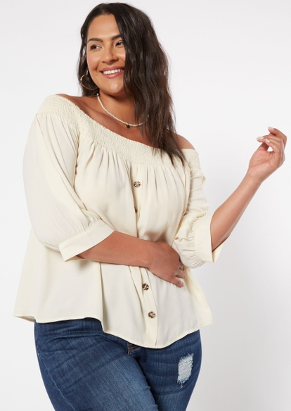 plus ivory button front off the shoulder top - Main Image