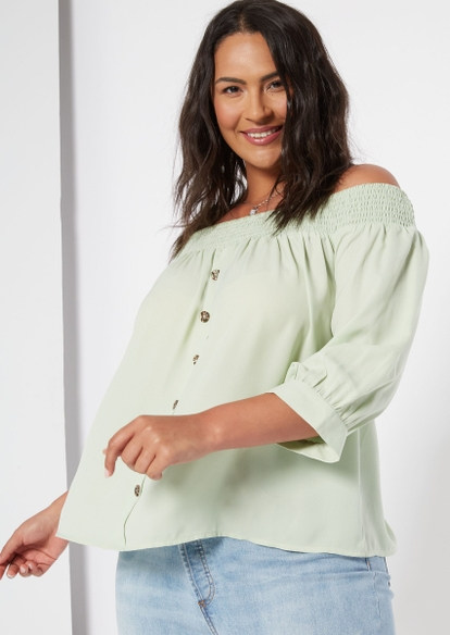 plus light green button front off the shoulder top - Main Image