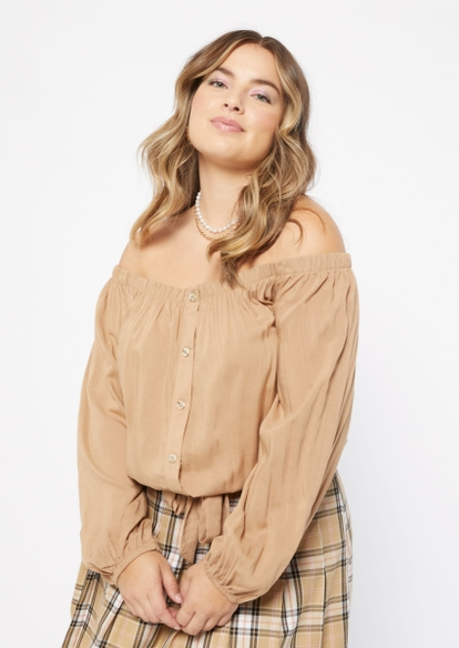 plus tan bell sleeve tie front top - Main Image