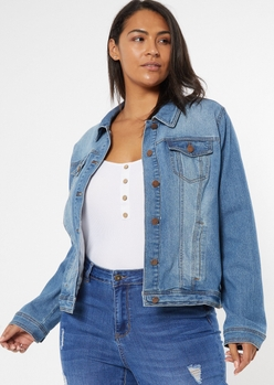 plus medium wash stretchy jean jacket - Main Image