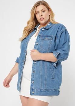plus medium wash boyfriend trucker jacket - Main Image