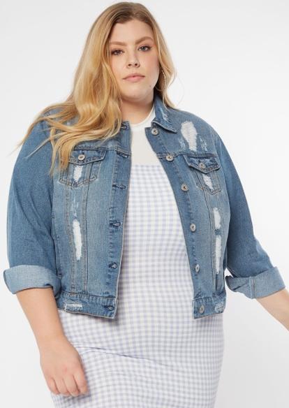 plus medium wash ripped jean jacket - Main Image
