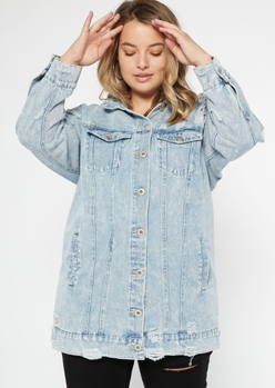 plus light wash ripped long jean jacket - Main Image