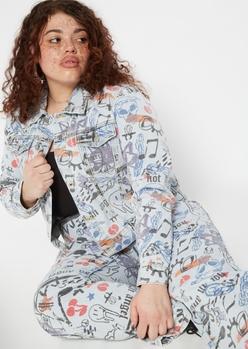 plus light wash graffiti print jean jacket - Main Image
