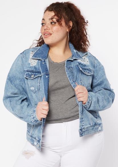 plus medium wash destructed jean jacket - Main Image