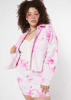 plus pink tie dye cropped jean jacket - Main Image