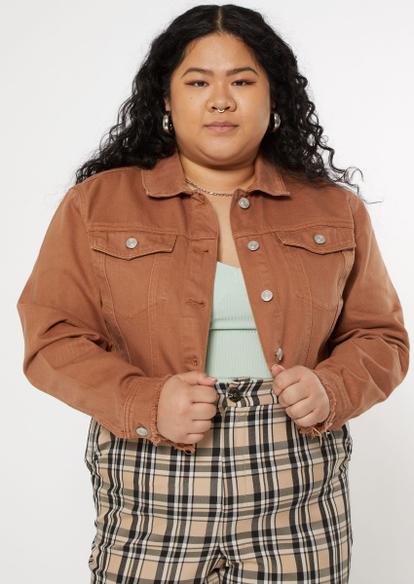 plus cognac cropped jean jacket - Main Image
