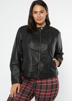 plus black sherpa lined faux leather jacket - Main Image