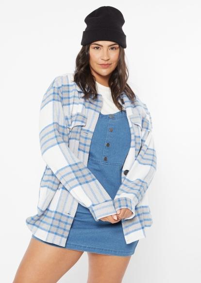 plus blue plaid brushed wool shacket - Main Image