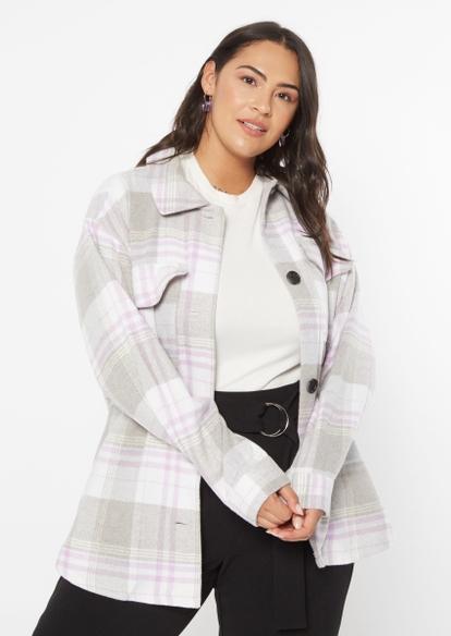 plus light purple plaid brushed wool shacket - Main Image