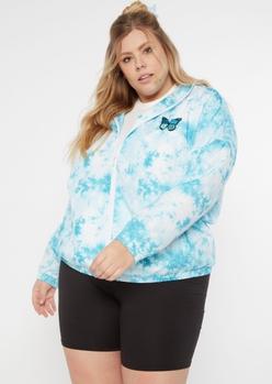 plus blue tie dye butterfly zip up windbreaker - Main Image