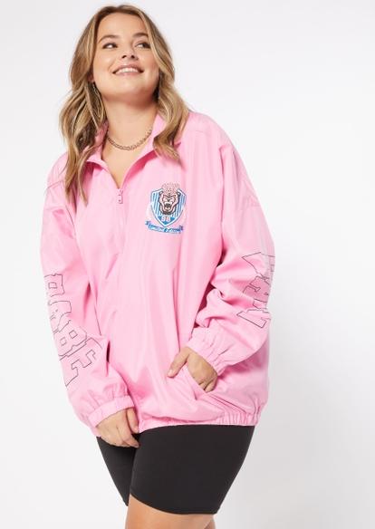 plus pink collegiate babe graphic full zip windbreaker - Main Image