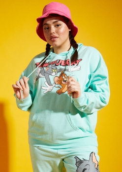 plus mint tom and jerry chase graphic hoodie - Main Image