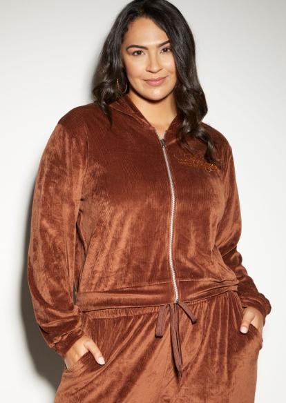plus brown rhinestone angel ribbed velour zip up hoodie - Main Image