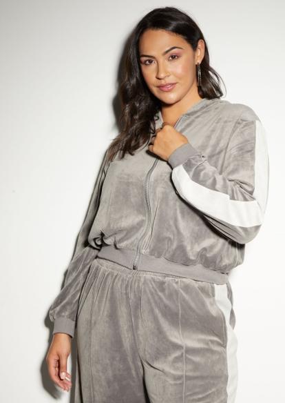 plus gray colorblock stripe velour zip hoodie - Main Image