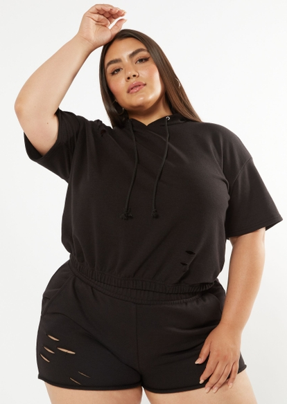 plus black short sleeve distressed hoodie - Main Image