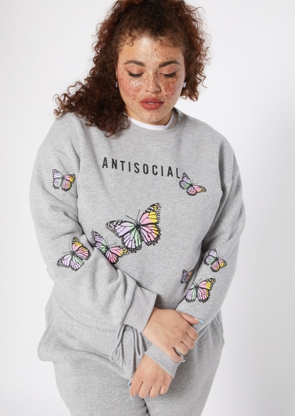 plus gray antisocial butterfly pullover - Main Image