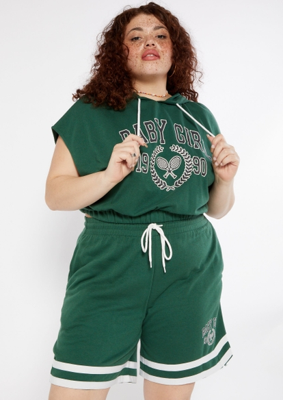 plus green baby girl graphic sleeveless hoodie - Main Image