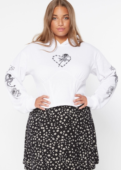 plus white barbed wire heart rose embroidered corset hoodie - Main Image