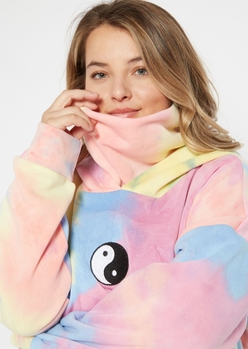 plus tie dye positive vibes embroidered mask hoodie - Main Image