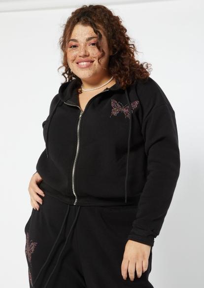 plus black rhinestone butterfly  zip up boyfriend hoodie - Main Image
