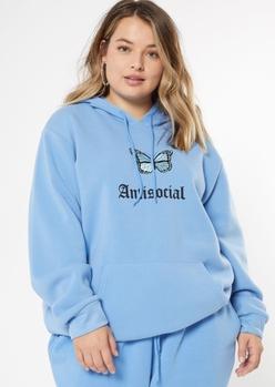 plus blue antisocial boyfriend hoodie - Main Image