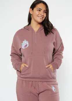 plus purple flaming yin yang embroidered hoodie - Main Image