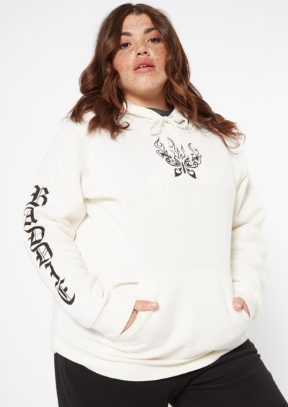 plus sand baddie boyfriend graphic hoodie - Main Image