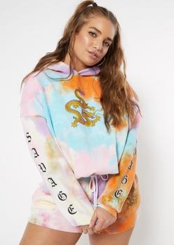 plus multicolor tie dye dragon graphic bungee hem hoodie - Main Image