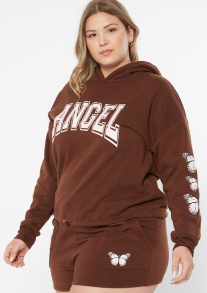 plus brown drawstring waist butterfly angel graphic hoodie - Main Image