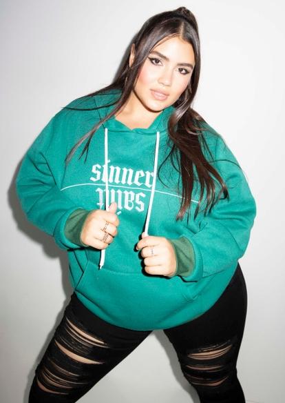 plus green saint sinner embroidered hoodie - Main Image