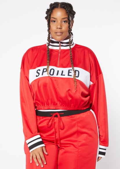 plus red tricot spoiled half zip track jacket - Main Image