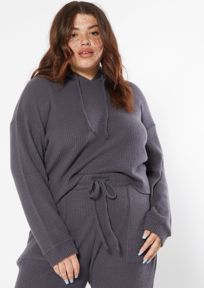 plus charcoal gray brushed hacci waffle knit hoodie - Main Image
