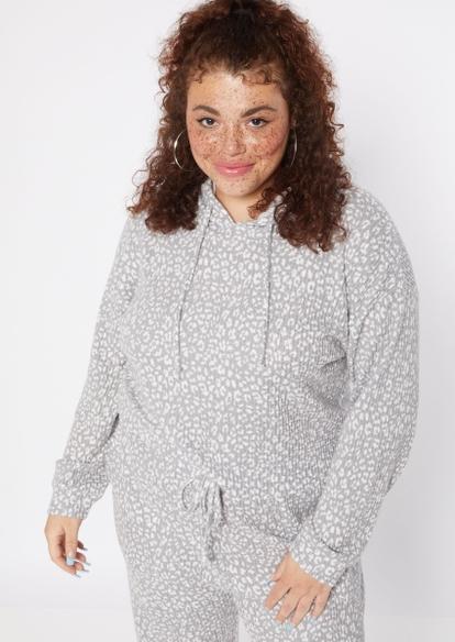 plus gray cheetah print brushed hacci waffle knit hoodie - Main Image