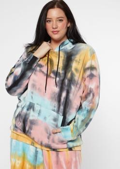 plus black tie dye fleece hoodie - Main Image