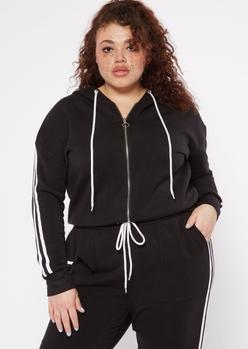 plus black varsity double stripe hoodie - Main Image