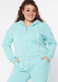 plus aqua varsity double stripe hoodie - Main Image
