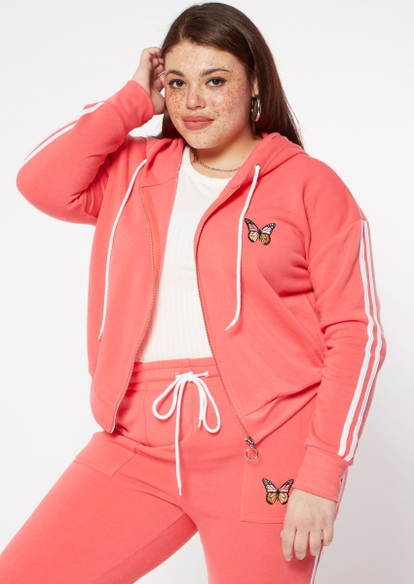 plus coral butterfly side striped zip up hoodie - Main Image