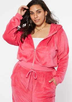 plus hot pink velour zip up cropped hoodie - Main Image