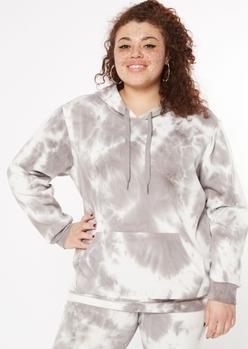 plus gray tie dye fleece hoodie - Main Image