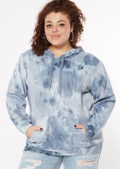 plus navy blue tie dye fleece hoodie - Main Image