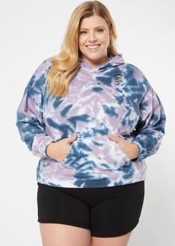 plus blue tie dye distressed hoodie - Main Image