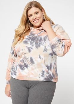plus coral tie dye distressed hoodie - Main Image