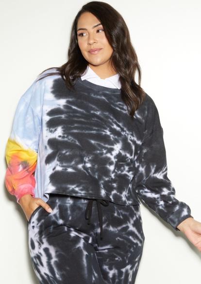 plus tie dye crop pullover sweatshirt - Main Image